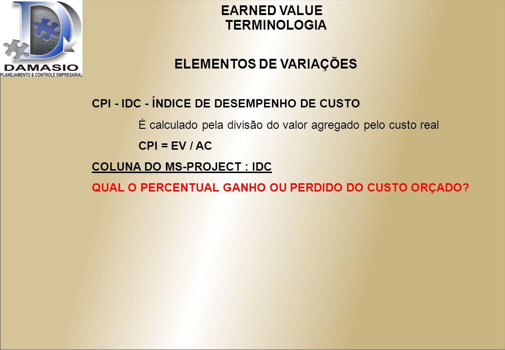 CPI - IDC - ÍNDICE DE DESEMPENHO DE CUSTO É calculado pela divisão do valor agregado pelo custo real CPI = EV / AC COLUNA DO MS-PROJECT : IDC QUAL O PERCENTUAL GANHO OU PERDIDO DO CUSTO ORÇADO.