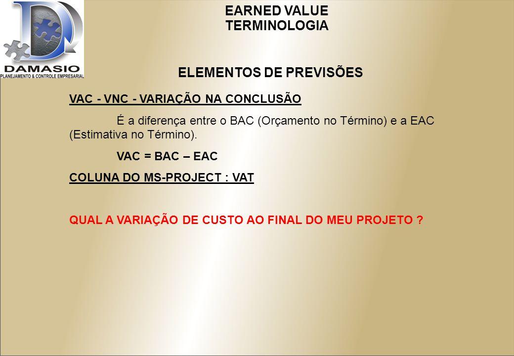 EARNED VALUE VAC - VNC - VARIAÇÃO NA CONCLUSÃO É a diferença entre o BAC (Orçamento no Término) e a EAC (Estimativa no Término).