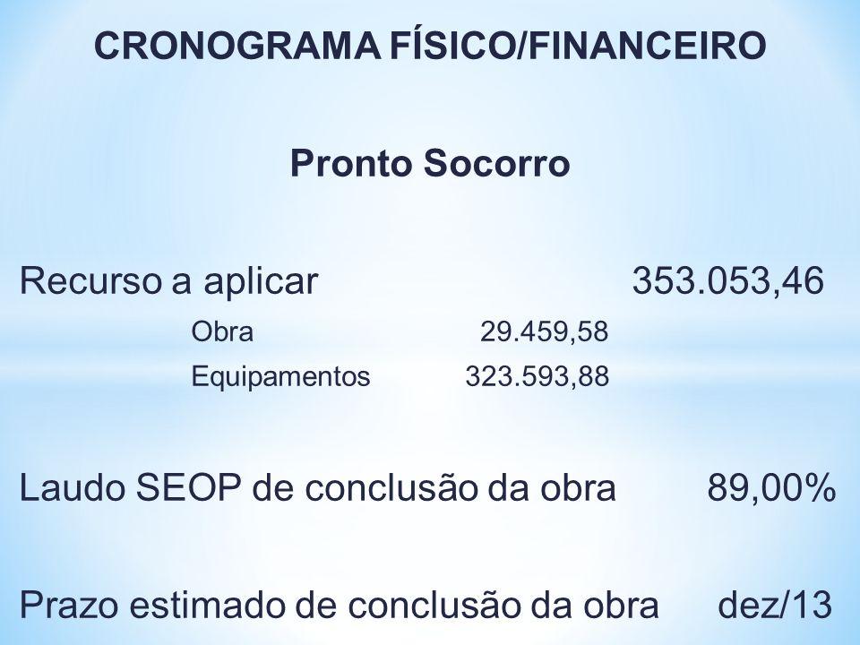 CRONOGRAMA FÍSICO/FINANCEIRO Pronto Socorro Recurso a aplicar 353.053,46 Obra 29.459,58 Equipamentos 323.593,88 Laudo SEOP de conclusão da obra89,00%