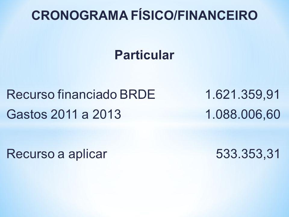 CRONOGRAMA FÍSICO/FINANCEIRO Particular Recurso financiado BRDE 1.621.359,91 Gastos 2011 a 2013 1.088.006,60 Recurso a aplicar 533.353,31