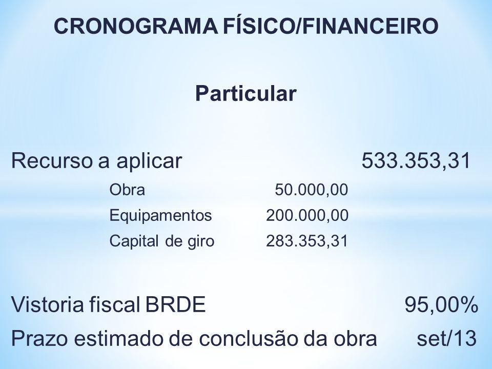 CRONOGRAMA FÍSICO/FINANCEIRO Particular Recurso a aplicar 533.353,31 Obra 50.000,00 Equipamentos 200.000,00 Capital de giro 283.353,31 Vistoria fiscal