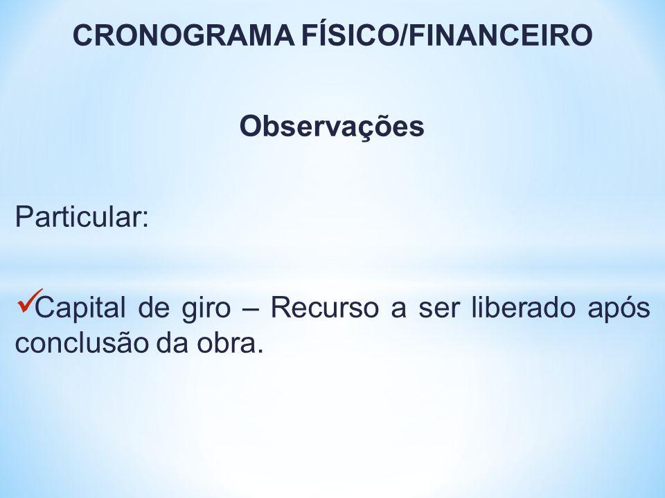 CRONOGRAMA FÍSICO/FINANCEIRO Observações Particular: Capital de giro – Recurso a ser liberado após conclusão da obra.