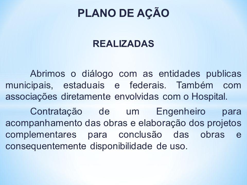 PLANO DE AÇÃO REALIZADAS Abrimos o diálogo com as entidades publicas municipais, estaduais e federais. Também com associações diretamente envolvidas c