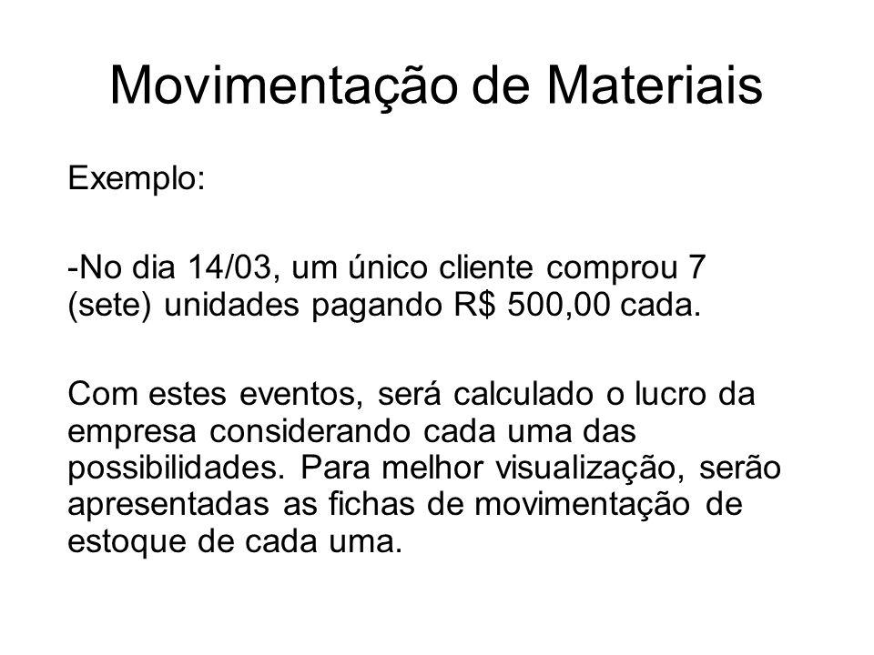 Movimentação de Materiais Exemplo: -No dia 14/03, um único cliente comprou 7 (sete) unidades pagando R$ 500,00 cada. Com estes eventos, será calculado
