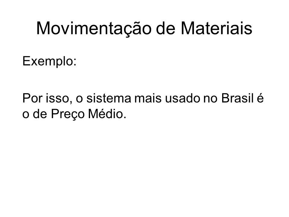 Movimentação de Materiais Exemplo: Por isso, o sistema mais usado no Brasil é o de Preço Médio.