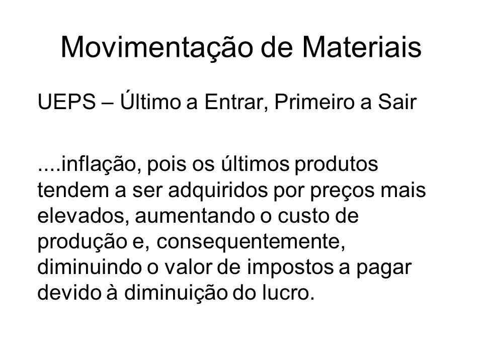 Movimentação de Materiais UEPS – Último a Entrar, Primeiro a Sair....inflação, pois os últimos produtos tendem a ser adquiridos por preços mais elevad