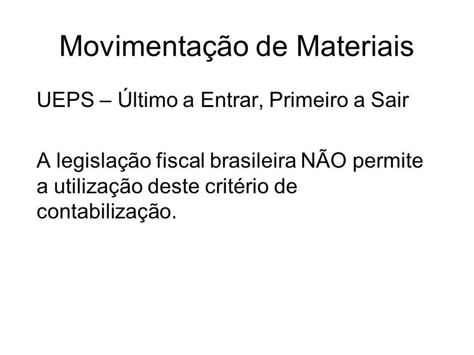 Movimentação de Materiais UEPS – Último a Entrar, Primeiro a Sair A legislação fiscal brasileira NÃO permite a utilização deste critério de contabiliz