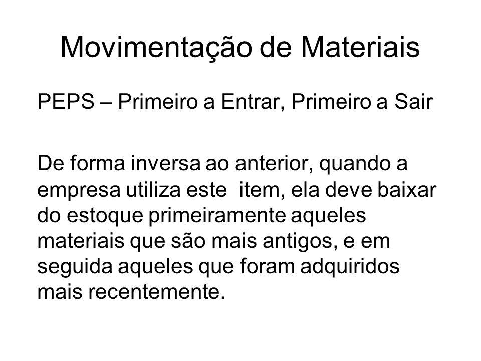 Movimentação de Materiais PEPS – Primeiro a Entrar, Primeiro a Sair De forma inversa ao anterior, quando a empresa utiliza este item, ela deve baixar