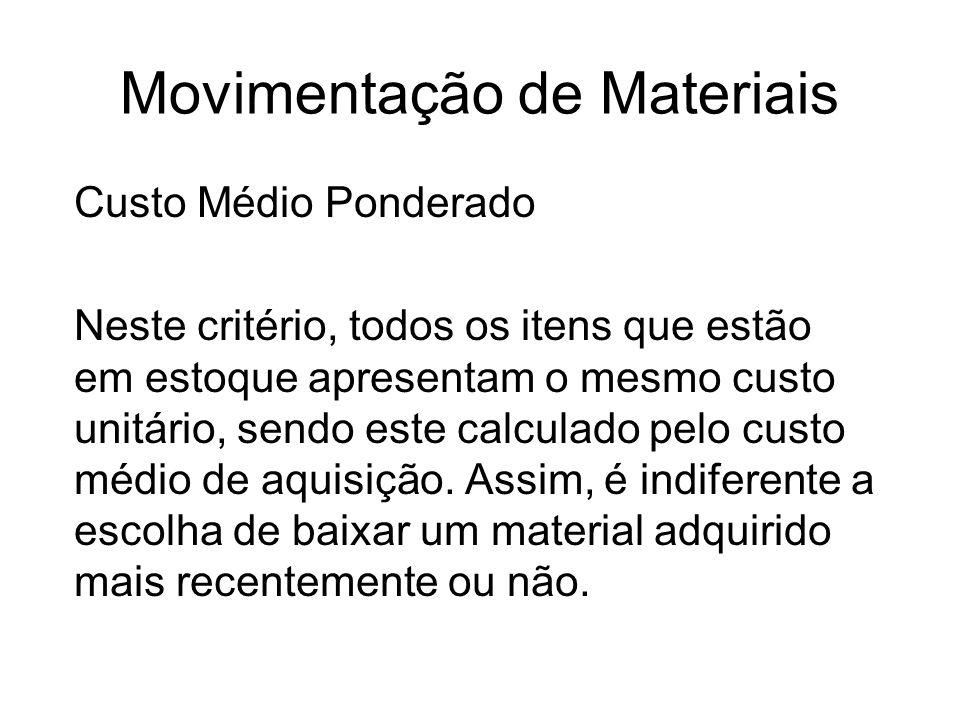 Movimentação de Materiais Custo Médio Ponderado Neste critério, todos os itens que estão em estoque apresentam o mesmo custo unitário, sendo este calc