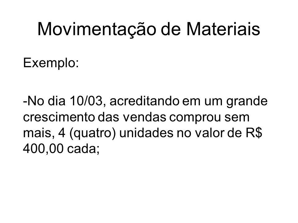 Movimentação de Materiais Exemplo: -No dia 10/03, acreditando em um grande crescimento das vendas comprou sem mais, 4 (quatro) unidades no valor de R$