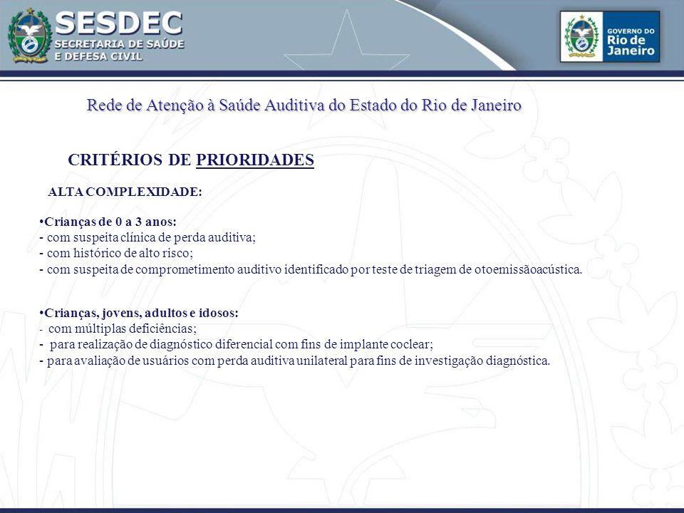 Rede de Atenção à Saúde Auditiva do Estado do Rio de Janeiro CRITÉRIOS DE PRIORIDADES ALTA COMPLEXIDADE: Crianças de 0 a 3 anos: - com suspeita clínica de perda auditiva; - com histórico de alto risco; - com suspeita de comprometimento auditivo identificado por teste de triagem de otoemissãoacústica.
