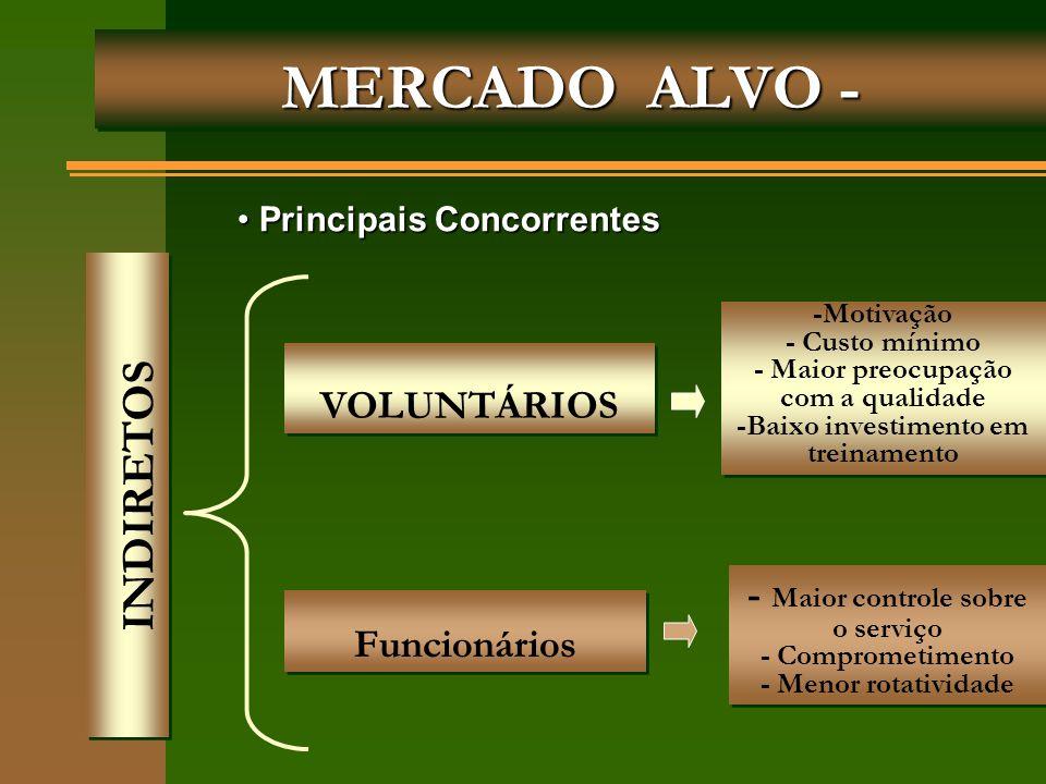 MERCADO ALVO - VOLUNTÁRIOS Funcionários INDIRETOS Principais Concorrentes Principais Concorrentes -Motivação - Custo mínimo - Maior preocupação com a