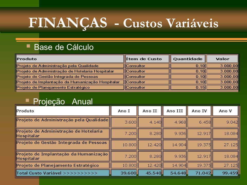 FINANÇAS - Custos Variáveis  Base de Cálculo  Projeção Anual