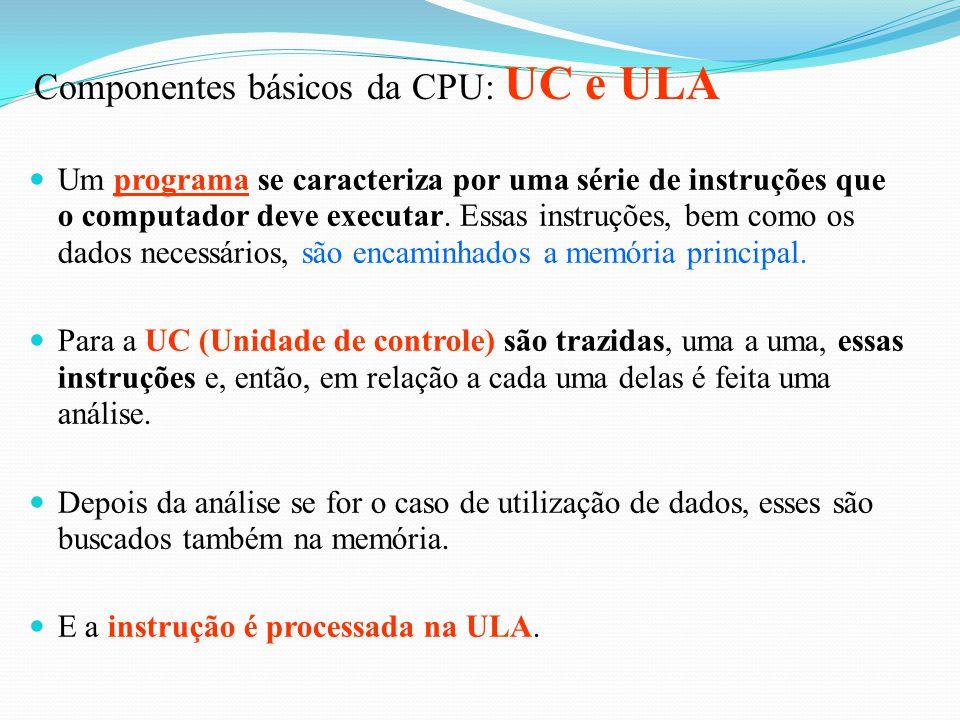 "Sistema Central Unidade de Saída Unidade de Entrada Memória Auxiliar CPU Memória Principal UC ULA ""Cérebro"" do Computador Armazena dados e programas n"