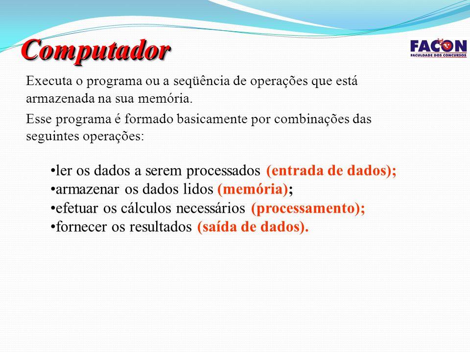 Sistema Central Unidade de Saída Unidade de Entrada Memória Auxiliar CPU Memória Principal UC ULA Cérebro do Computador Armazena dados e programas necessários para a realização de um trabalho Realiza as operações lógicas e aritméticas Comanda as outras unidades