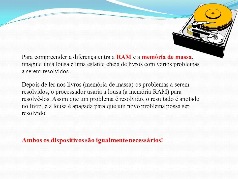 Em relação à memória RAM: m ais lenta, custo menor, não volátil e tem maior capacidade de armazenamento. mecanismos de acesso seqüencial (fita) ou dir