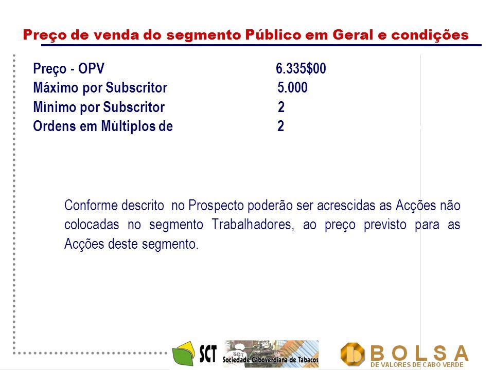 12 Preço de venda do segmento Público em Geral e condições Preço - OPV 6.335$00 Máximo por Subscritor 5.000 Mínimo por Subscritor 2 Ordens em Múltiplo