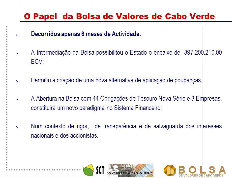 19 O Papel da Bolsa de Valores de Cabo Verde  Decorridos apenas 6 meses de Actividade:  A Intermediação da Bolsa possibilitou o Estado o encaixe de