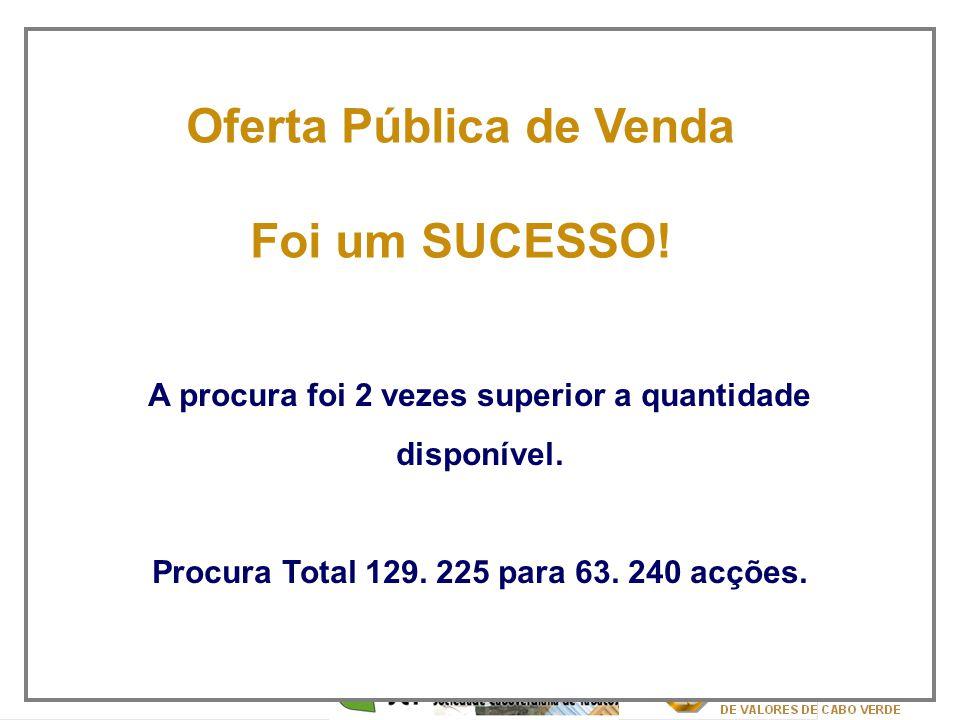 2 A procura foi 2 vezes superior a quantidade disponível. Procura Total 129. 225 para 63. 240 acções. Oferta Pública de Venda Foi um SUCESSO!