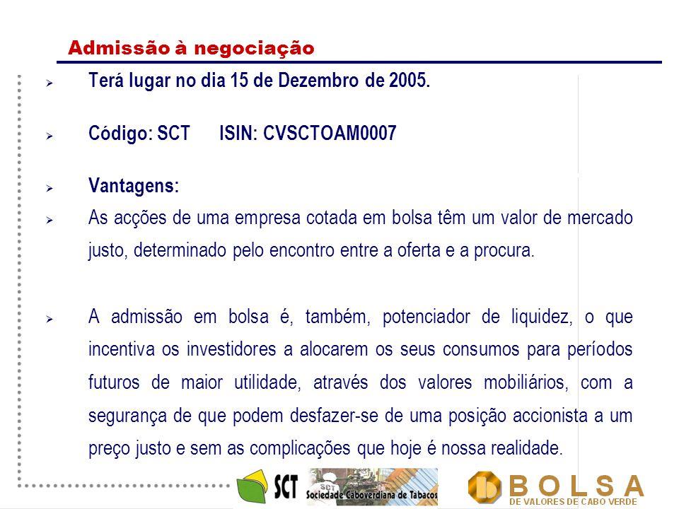 20 Admissão à negociação  Terá lugar no dia 15 de Dezembro de 2005.  Código: SCT ISIN: CVSCTOAM0007  Vantagens:  As acções de uma empresa cotada e