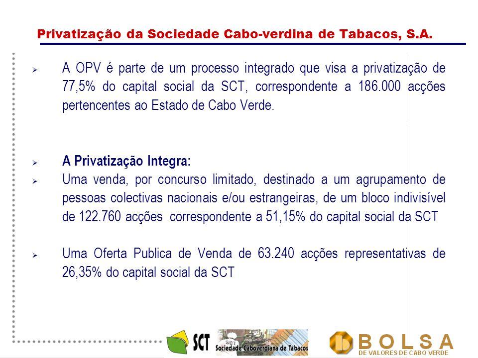 3 Privatização da Sociedade Cabo-verdina de Tabacos, S.A.  A OPV é parte de um processo integrado que visa a privatização de 77,5% do capital social