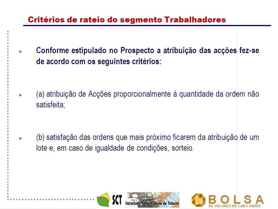 8 Critérios de rateio do segmento Trabalhadores  Conforme estipulado no Prospecto a atribuição das acções fez-se de acordo com os seguintes critérios:  (a)atribuição de Acções proporcionalmente à quantidade da ordem não satisfeita;  (b)satisfação das ordens que mais próximo ficarem da atribuição de um lote e, em caso de igualdade de condições, sorteio.