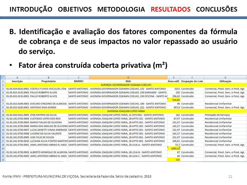 12 B. Identificação e avaliação dos fatores componentes da fórmula de cobrança e de seus impactos no valor repassado ao usuário do serviço. Fator área