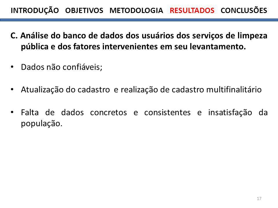 17 C. Análise do banco de dados dos usuários dos serviços de limpeza pública e dos fatores intervenientes em seu levantamento. Dados não confiáveis; A