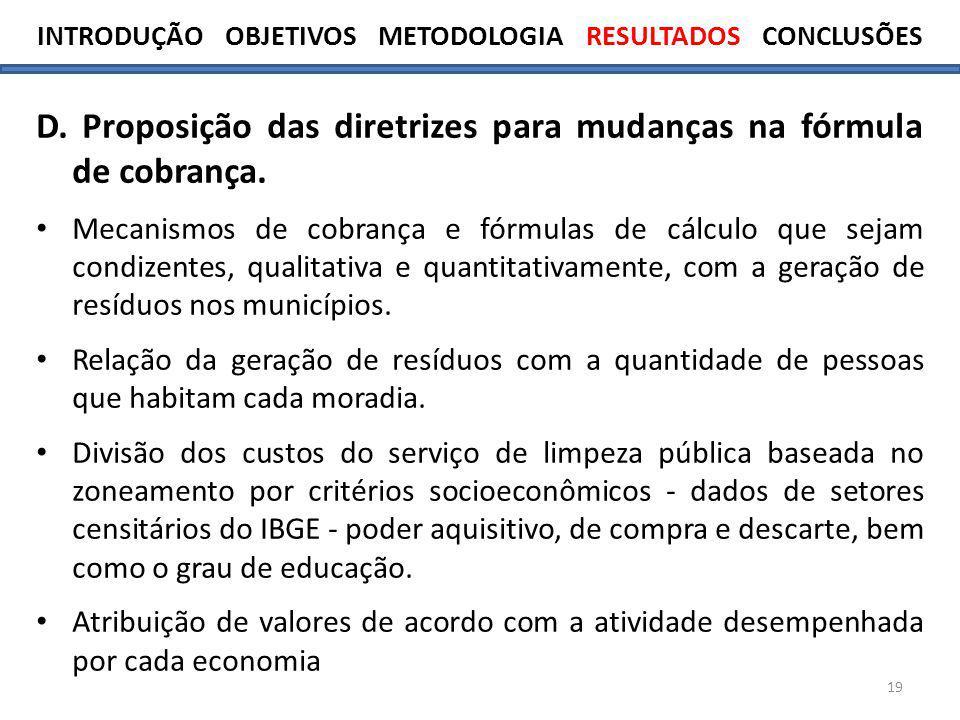 19 D.Proposição das diretrizes para mudanças na fórmula de cobrança.