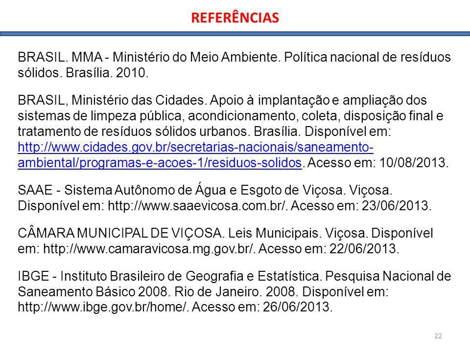 REFERÊNCIAS 22 BRASIL. MMA - Ministério do Meio Ambiente. Política nacional de resíduos sólidos. Brasília. 2010. BRASIL, Ministério das Cidades. Apoio
