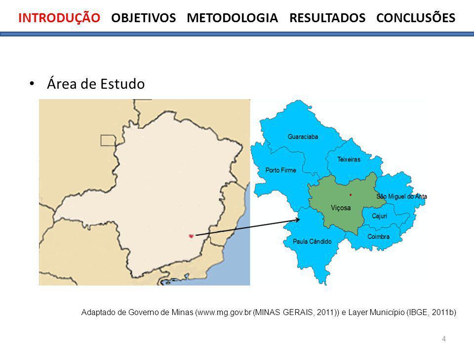4 Área de Estudo Adaptado de Governo de Minas (www.mg.gov.br (MINAS GERAIS, 2011)) e Layer Município (IBGE, 2011b)