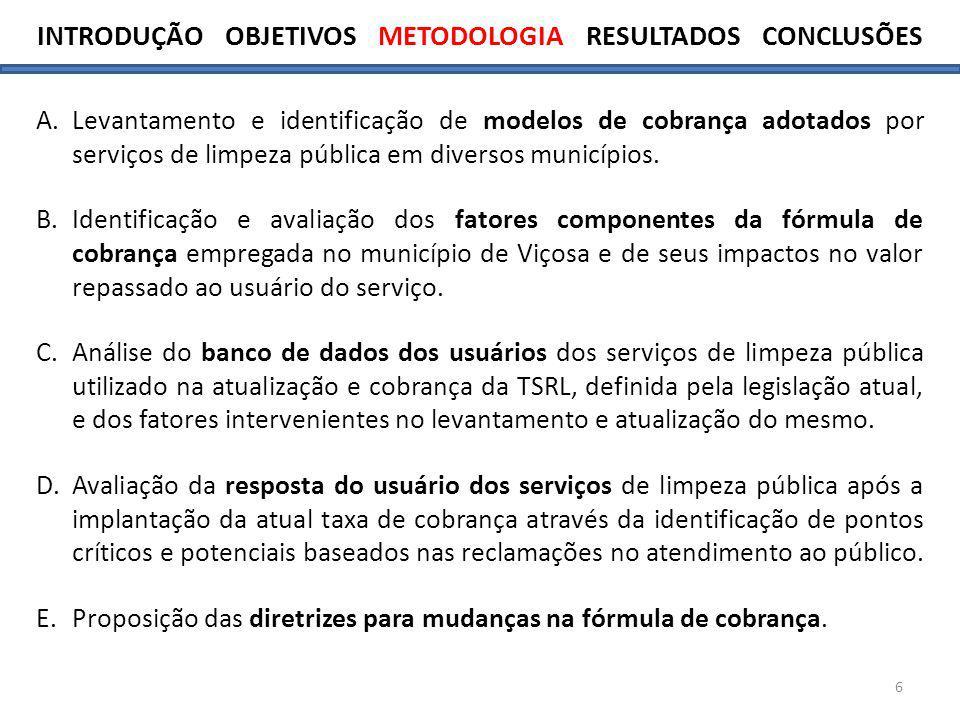 6 A.Levantamento e identificação de modelos de cobrança adotados por serviços de limpeza pública em diversos municípios. B.Identificação e avaliação d