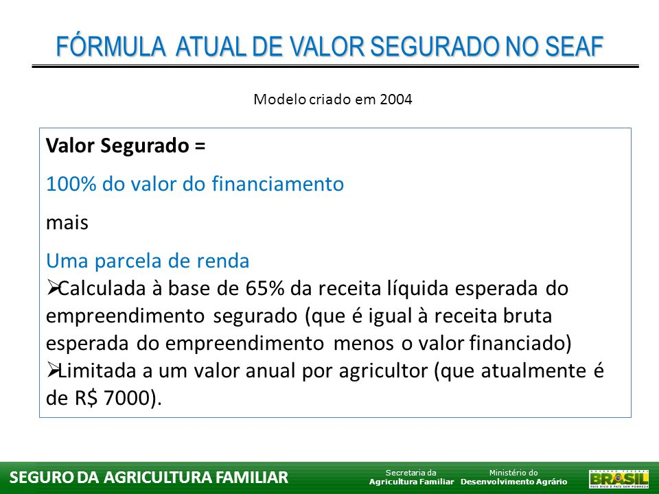 Ministério do Desenvolvimento Agrário Secretaria da Agricultura Familiar SEGURO DA AGRICULTURA FAMILIAR Valor Segurado = 100% do valor do financiament