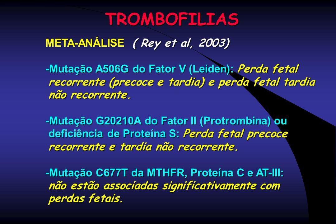 TROMBOFILIAS META-ANÁLISE ( Rey et al, 2003) -Mutação A506G do Fator V (Leiden): Perda fetal recorrente (precoce e tardia) e perda fetal tardia recorr