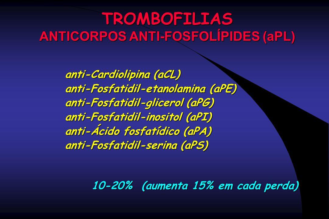 TROMBOFILIAS ANTICORPOS ANTI-FOSFOLÍPIDES (aPL) anti-Cardiolipina (aCL) anti-Fosfatidil-etanolamina (aPE) anti-Fosfatidil-glicerol (aPG) anti-Fosfatid