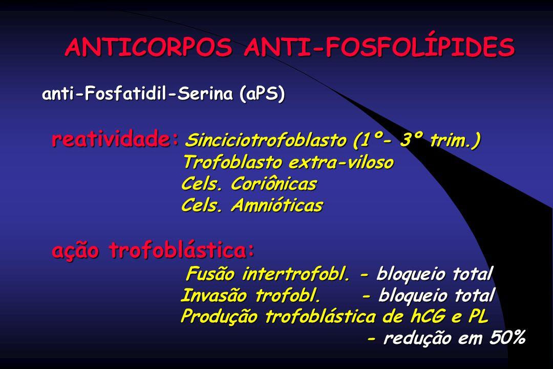 ANTICORPOS ANTI-FOSFOLÍPIDES anti-Fosfatidil-Serina (aPS) reatividade: Sinciciotrofoblasto (1º- 3º trim.) reatividade: Sinciciotrofoblasto (1º- 3º tri