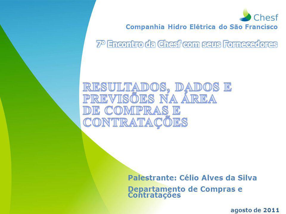 Companhia Hidro Elétrica do São Francisco agosto de 2011 Palestrante: Célio Alves da Silva Departamento de Compras e Contratações