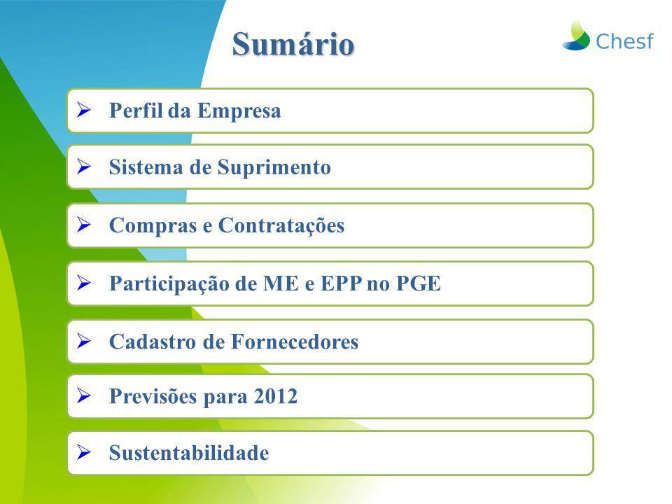 Sumário  Perfil da Empresa  Sistema de Suprimento  Compras e Contratações  Participação de ME e EPP no PGE  Cadastro de Fornecedores  Previsões para 2012  Sustentabilidade