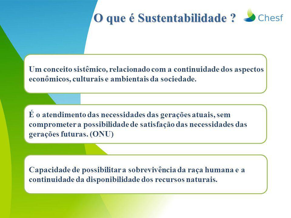 O que é Sustentabilidade ? É o atendimento das necessidades das gerações atuais, sem comprometer a possibilidade de satisfação das necessidades das ge
