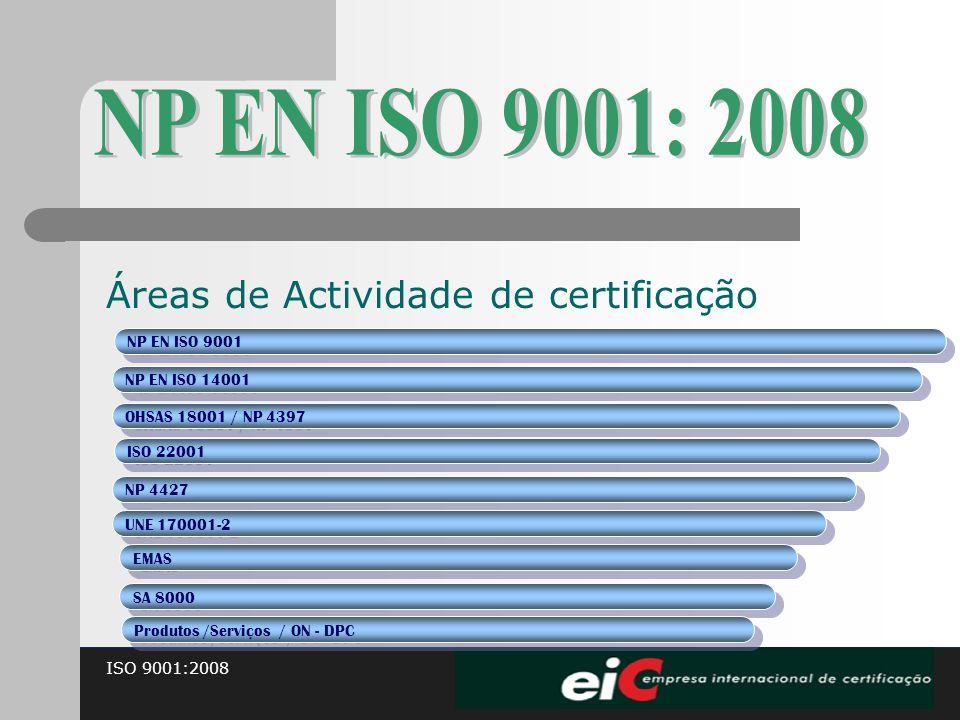 ISO 9001:2008 Áreas de Actividade de certificação NP EN ISO 9001 NP EN ISO 14001 OHSAS 18001 / NP 4397 ISO 22001 NP 4427 UNE 170001-2 EMAS SA 8000 Pro