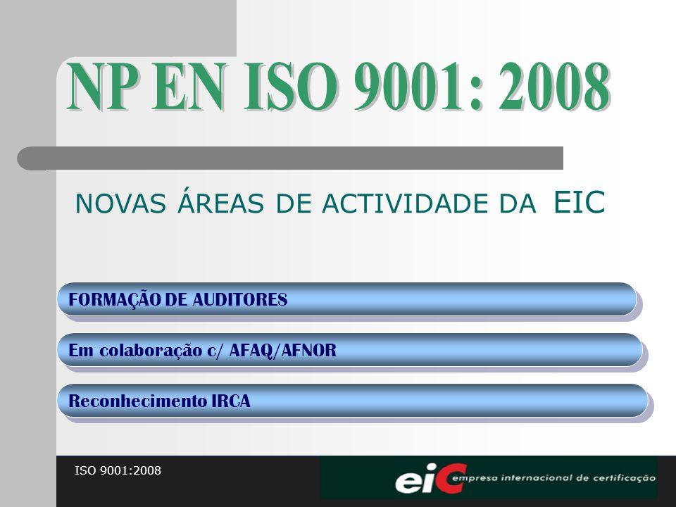 ISO 9001:2008 NOVAS ÁREAS DE ACTIVIDADE DA EIC FORMAÇÃO DE AUDITORES Em colaboração c/ AFAQ/AFNOR Reconhecimento IRCA