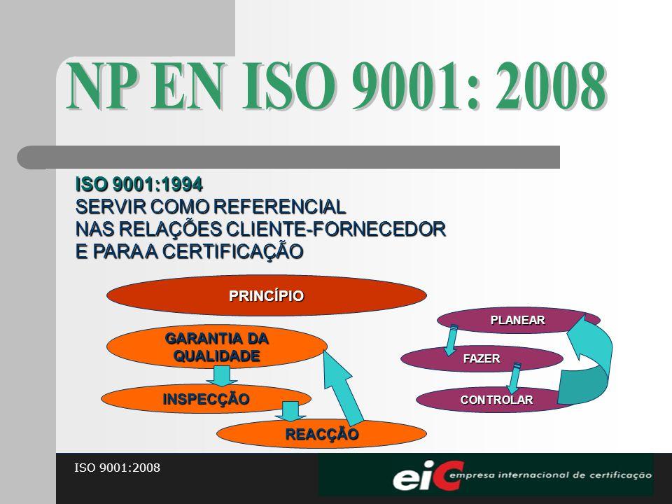 ISO 9001:2008 ISO 9001:1994 SERVIR COMO REFERENCIAL NAS RELAÇÕES CLIENTE-FORNECEDOR E PARA A CERTIFICAÇÃO PRINCÍPIO GARANTIA DA QUALIDADE PLANEAR FAZE