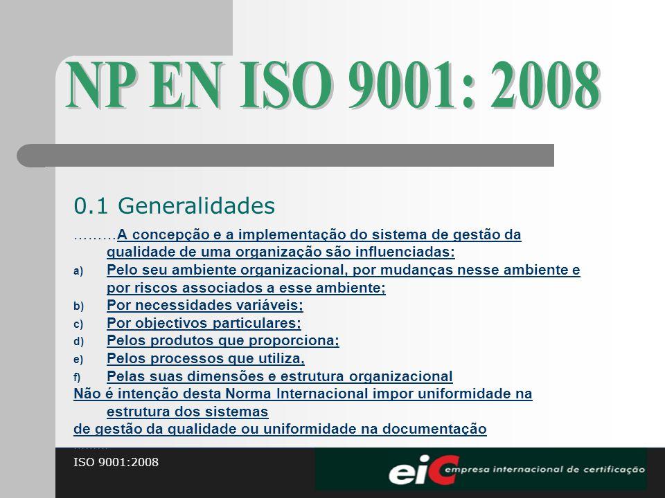 ISO 9001:2008 ………A concepção e a implementação do sistema de gestão da qualidade de uma organização são influenciadas: a) Pelo seu ambiente organizaci