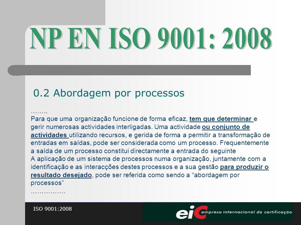 ISO 9001:2008 …….. Para que uma organização funcione de forma eficaz, tem que determinar e gerir numerosas actividades interligadas. Uma actividade ou
