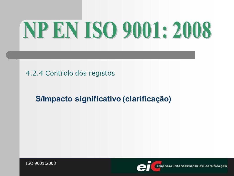 ISO 9001:2008 S/Impacto significativo (clarificação) 4.2.4 Controlo dos registos