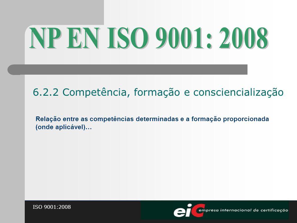 ISO 9001:2008 Relação entre as competências determinadas e a formação proporcionada (onde aplicável)… 6.2.2 Competência, formação e consciencialização