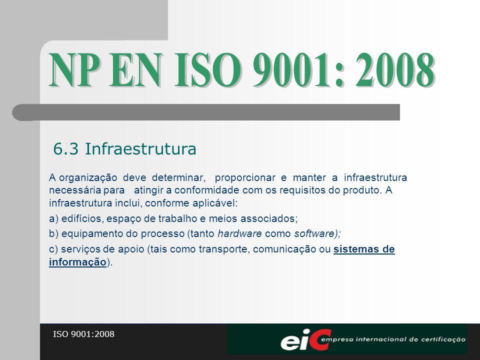 ISO 9001:2008 A organização deve determinar, proporcionar e manter a infraestrutura necessária para atingir a conformidade com os requisitos do produt
