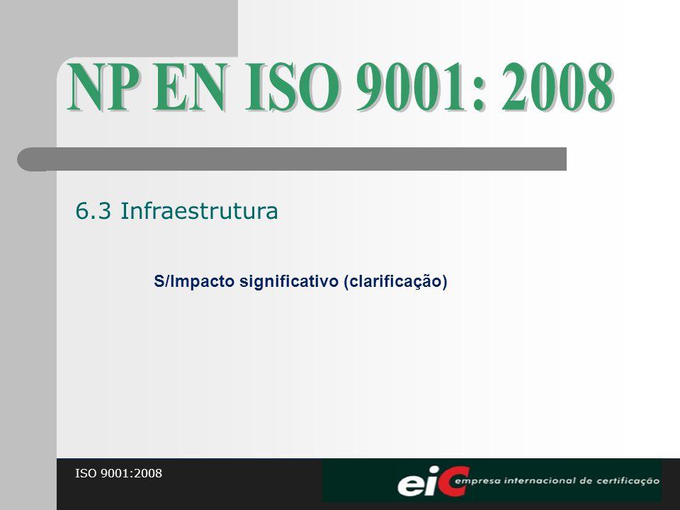 ISO 9001:2008 S/Impacto significativo (clarificação) 6.3 Infraestrutura