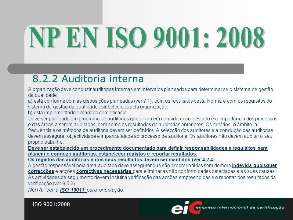 ISO 9001:2008 A organização deve conduzir auditorias internas em intervalos planeados para determinar se o sistema de gestão da qualidade: a) está con