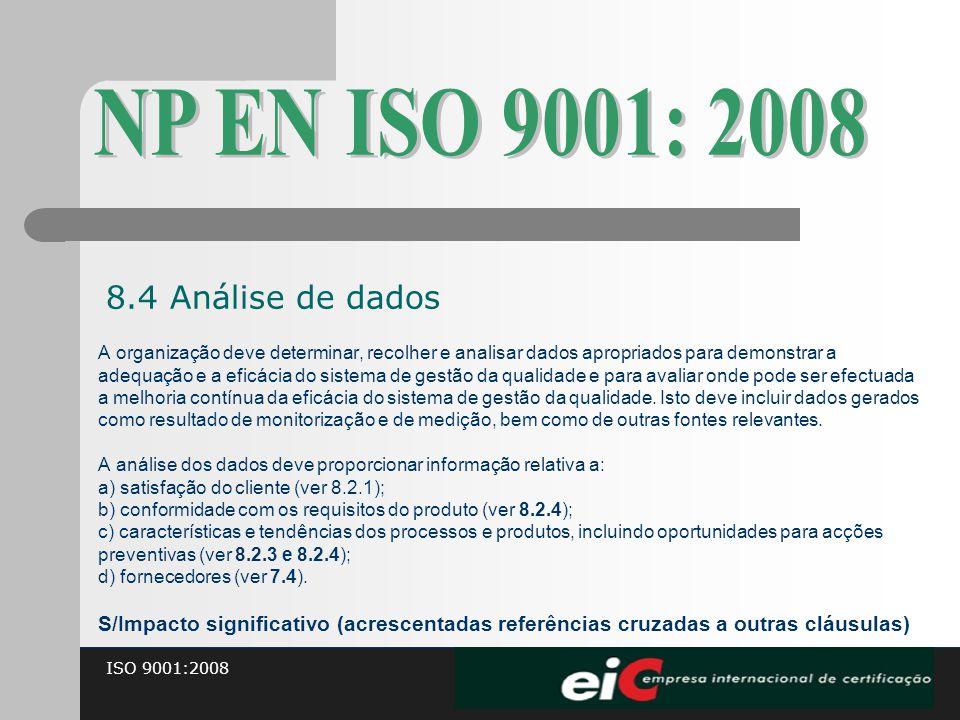 ISO 9001:2008 A organização deve determinar, recolher e analisar dados apropriados para demonstrar a adequação e a eficácia do sistema de gestão da qu